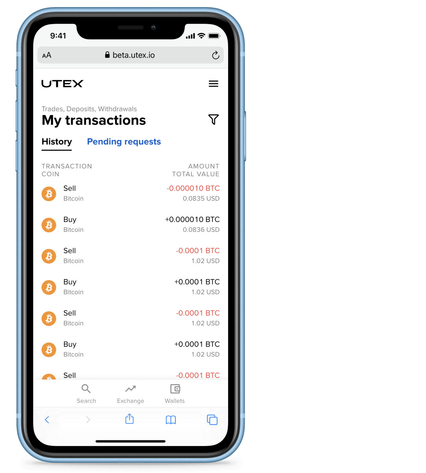 Transactions history