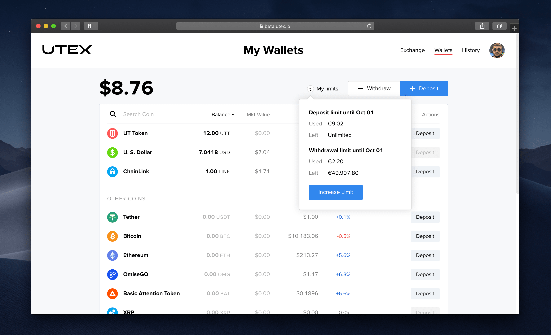 My Wallets section: balance, arrangement by assets, limit balance prompts